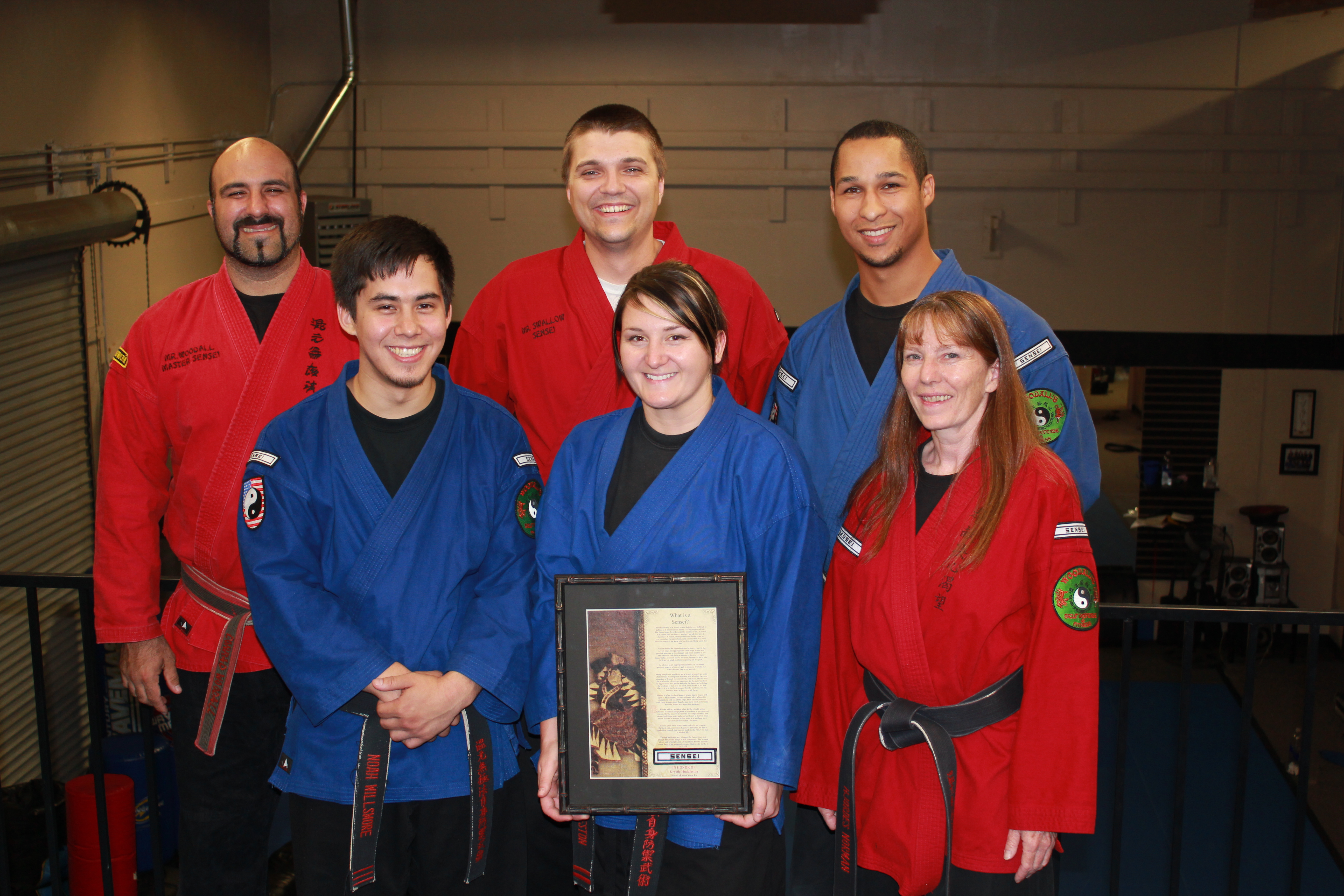 The six Sensei's. Back row: Conrad Woodall, Joseph Swallow, Theo Schubert Front row: Noah Willsmore, Krystle Huddleston, Hjordes Norman