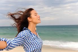 woman wind